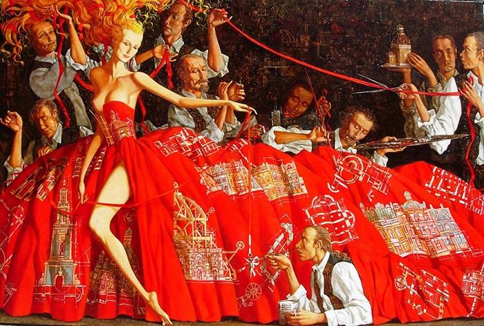 Красное платье архитектора. 2005 год. Художник: Роман Заслонов.