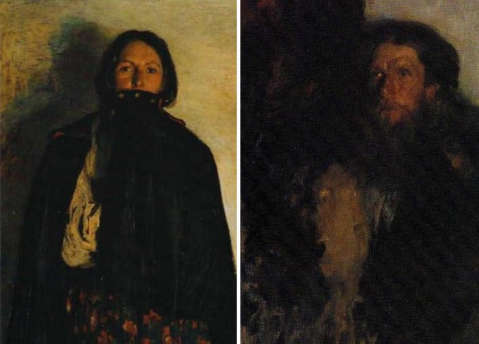 «Крестьянка, закрывающая свиткой рот». 1894г. / Портрет отца художника. Автор: Ф.Малявин.