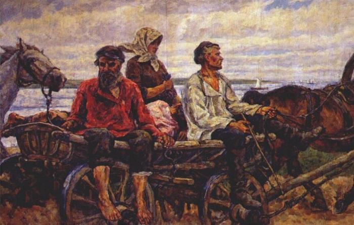 Новгород. Возвращение с ярмарки. 1926 год. Автор: П. П. Кончаловский.