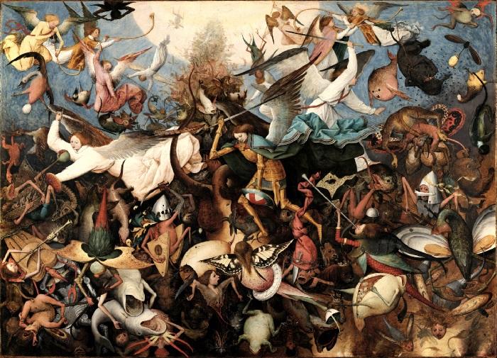 Питер Брейгель Старший. «Падение мятежных ангелов». (1562 год). Дерево, масло. 117 х 162 см. Королевский музей  изящных искусств, Брюссель.