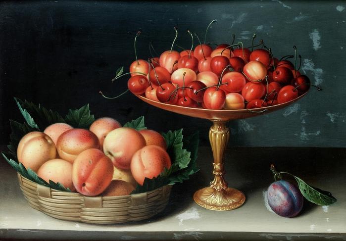 Корзина с абрикосами, серебряная тацца с черешней и слива на столе. 43.2 x 29.5 Дерево, масло. Частное собрание.  Автор: Луиза Муайон.