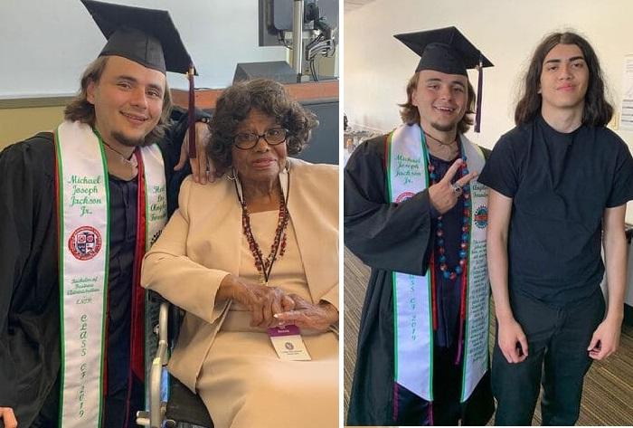 Принс на вручении диплома с бабушкой Кэтрин Джексон (мамой Майкла) и братом. (2019 год). (Фото: instagram/princejackson).