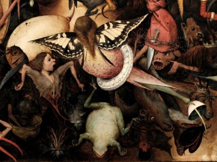 «Падение мятежных ангелов». Фрагмент. (Фантастические существа – обитатели ада предстают в виде полулюдей и животных с раскрытыми ртами и распоротыми животами.)