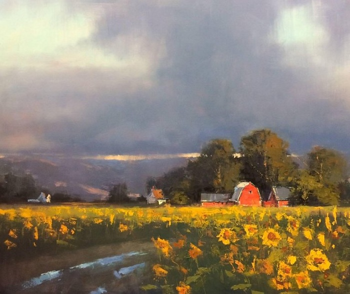 Подсолнухи. Живописные ландшафты от Romona Youngquist.