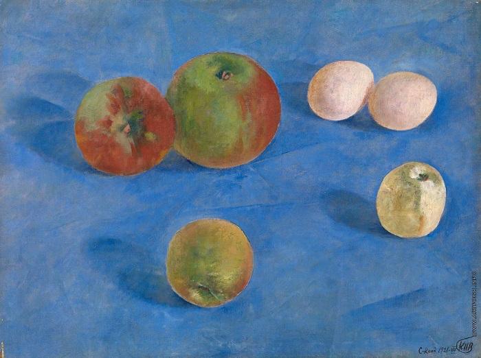 «Яблоки ияйца». (1921 год). Автор: Кузьма Петров-Водкин.