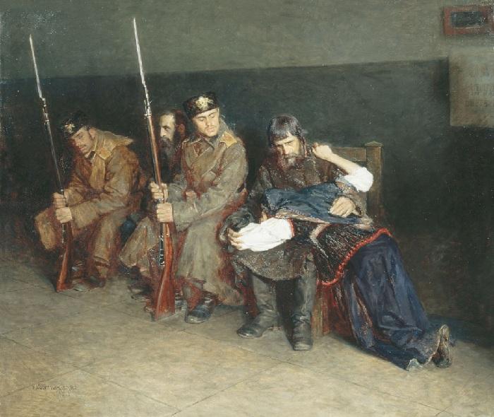 В коридоре окружного суда. (1897 год). Автор: Касаткин Николай.