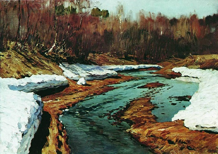 Исаак Левитан Весна. Последний снег. 1895 год.