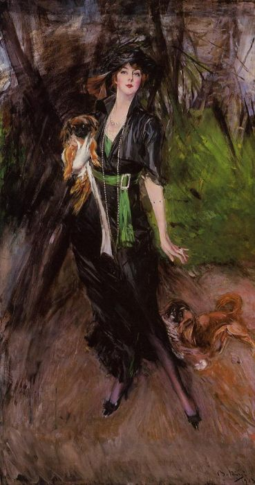 Lady Lina Bilitis with Two Pekinese. Автор: Джованни Болдини.
