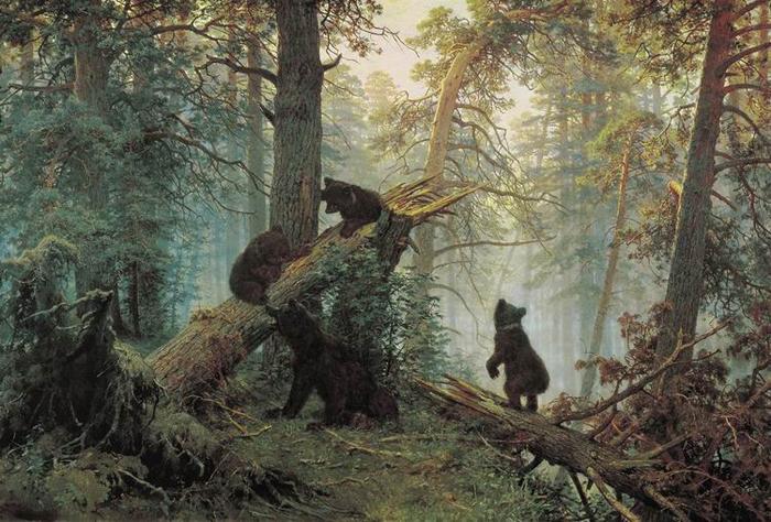 «Утро всосновом лесу». Совместная работа Ивана Шишкина и Константина Савицкого. Третьяковская галерея.