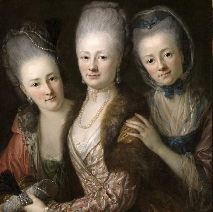 Портрет дочерей Иоганна Юлиуса фон Вьет унд Гольссенау (1713–1784) и его жены Йоханны Юлиан, урожденной Криг фон Белликен (написан около 1775 года). Художник: Anton Graff.