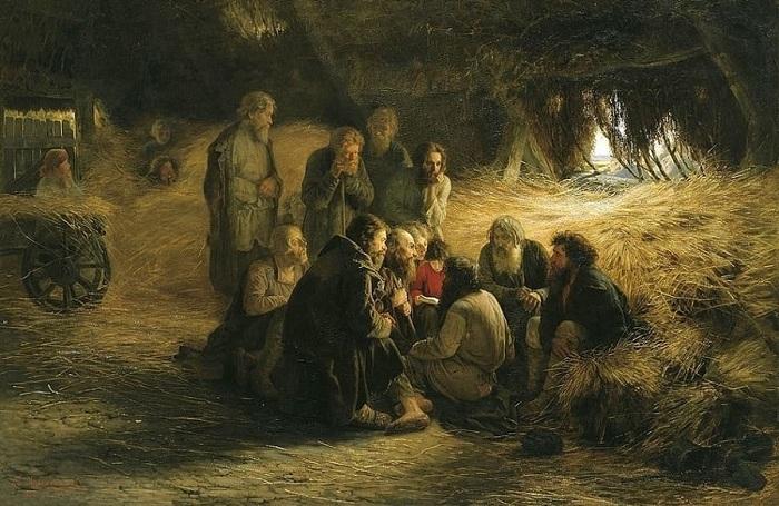 Чтение манифеста 19 февраля 1861 года. (1873 год). Государственная Третьяковская галерея. Автор: Г.Г. Мясоедов.