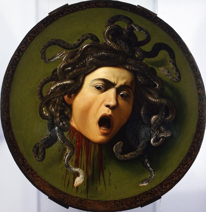 «Голова Медузы Горгоны». (1597—1598). Автор: Микеланджело Караваджо.