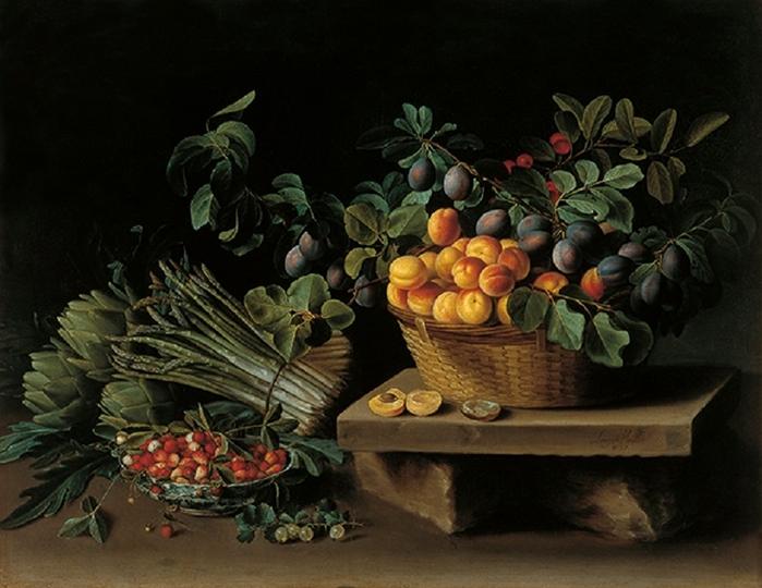 Натюрморт с фруктами и пучками артишоков и спаржи.  Автор: Луиза Муайон.