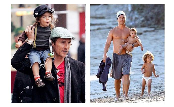 Мэттью Макконахи с детьми.