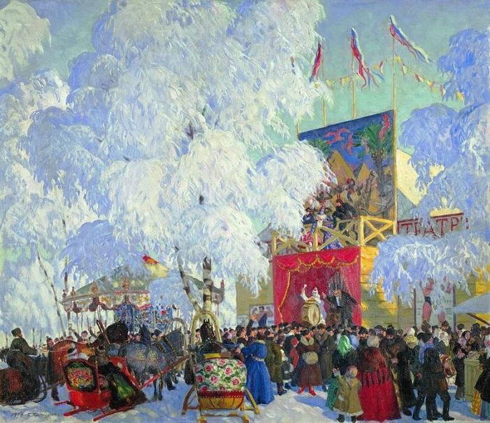 «Балаганы» (1917год). Художник Б. М. Кустодиев.