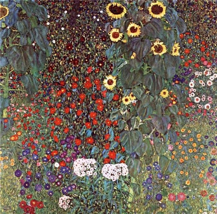 Сад с подсолнухами. (1905-1906гг).  Автор: Gustav Klimt.