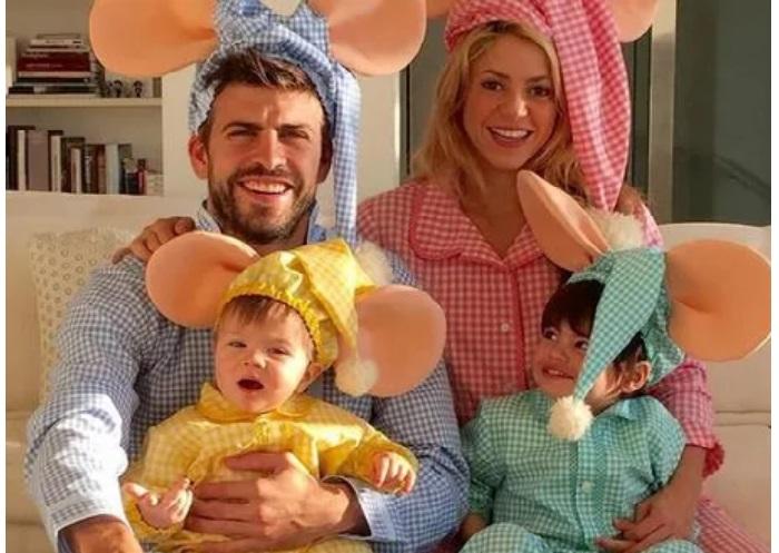 Шакира и Жерар Пике с сыновьями.