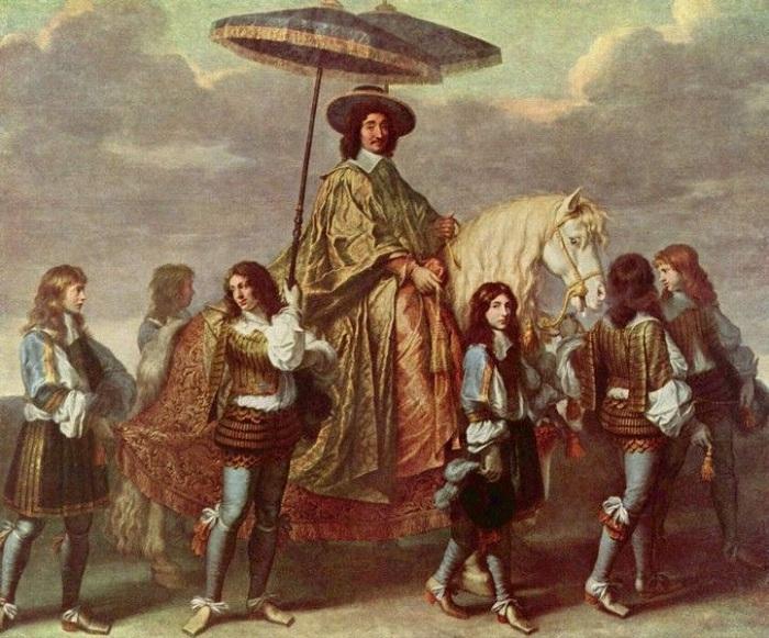 Канцлер Пьер Сегье с зонтиком. (1670). Автор: Чарльз ле Брун.