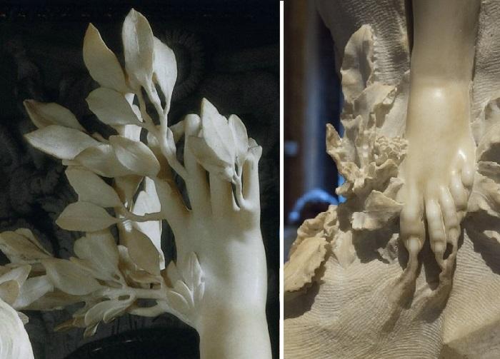 Аполлон и Дафна. Фрагменты. (1622–1625). (Изящно вырезанные ветки и корни - работа молодого Джулиано ).