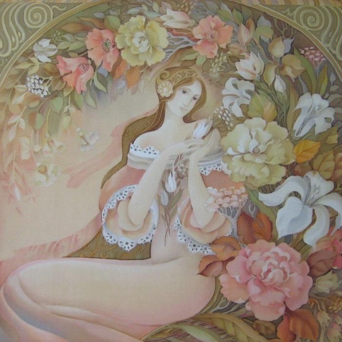 «Флора». Роспись по шелку (батик). Автор: Любовь Тощева.