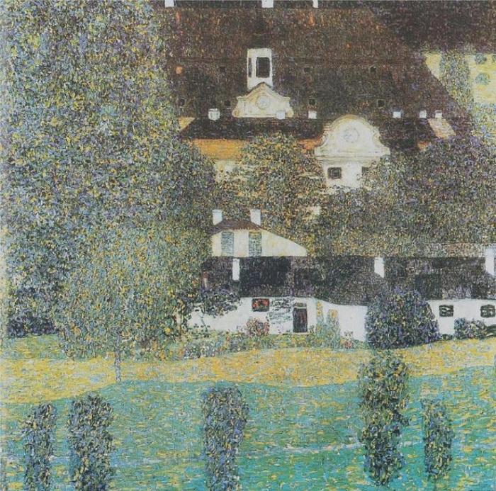Замок на озере Аттерзе. (1909 год).  Автор: Gustav Klimt.