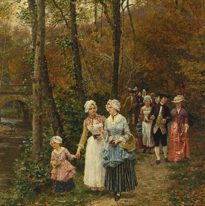 «Возвращение с мессы». (1879 год). Автор: Фирмен-Жирар.