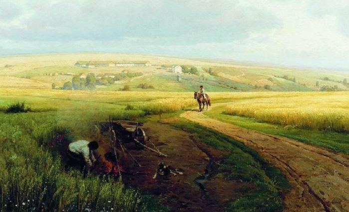 «Костер в поле». (1891 год). Художник: Владимир Орловский.