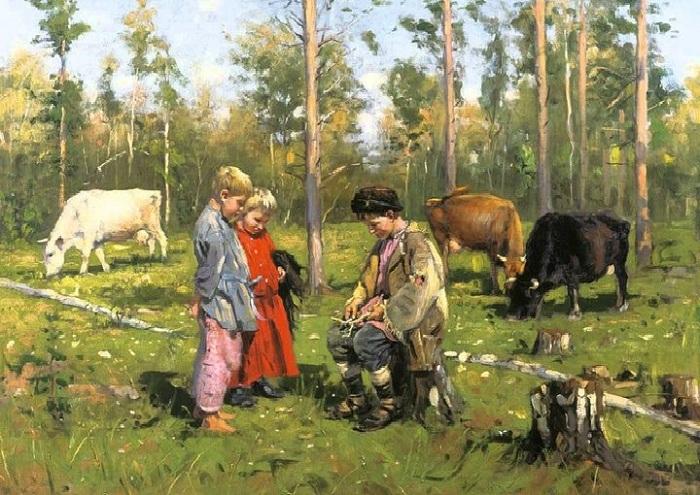 Пастушки. (1903). Автор: Владимир Маковский.