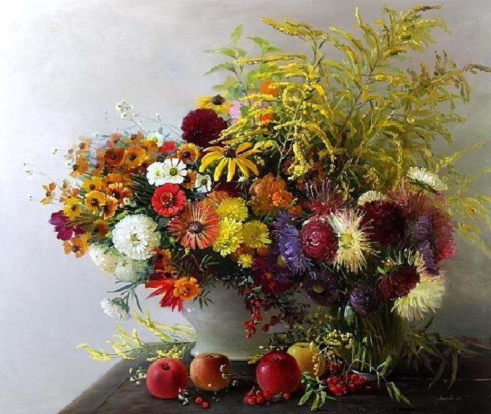 Осенние цветы. Автор:  Марина Захарова.