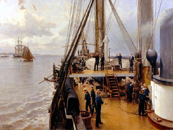 «На палубе фрегата Светлана», 1884 год. Центральный военно-морской музей, Санкт-Петербург. Автор: Александр Беггров.