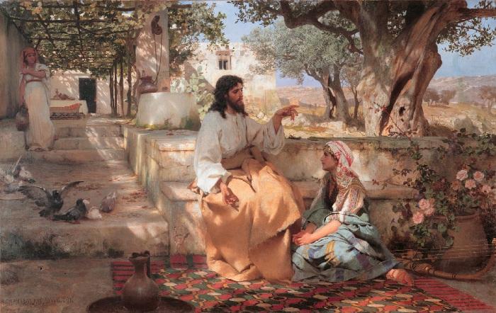 Христос у Марфы и Марии. (18886 год). Санкт-Петербург, Государственный Русский музей. Автор: Генрих Семирадский.