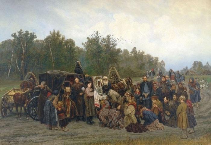 «Встреча иконы» (1878 год). Автор: К.А.Савицкий.