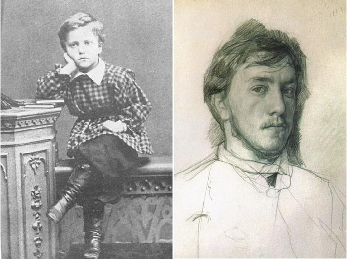 Валентин Серов 8-летнем возрасте и в юности.¦ Фото: tg-m.ru/catalog.
