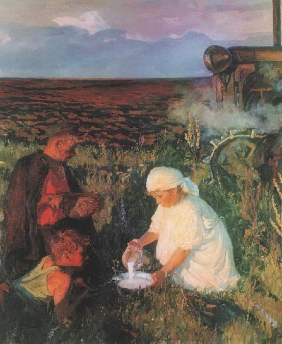 Ужин трактористов. (1961 год). Автор: А.А.Пластов.