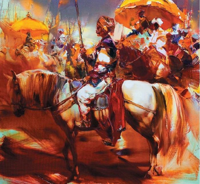Воин-всадник на лошади. Из цикла «Шелковый путь». Автор: Валерий Блохин.