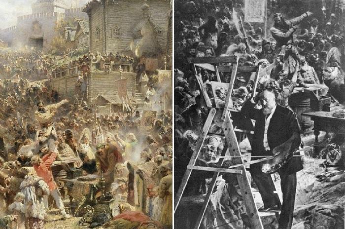 Воззвание Минина к нижегородцам. (1896). Фрагмент полотна.  /  Константин Маковский  в мастерской.
