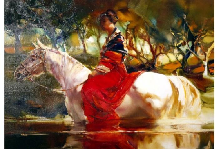 Девушка на лошади. Из цикла «Шелковый путь». Автор: Валерий Блохин.