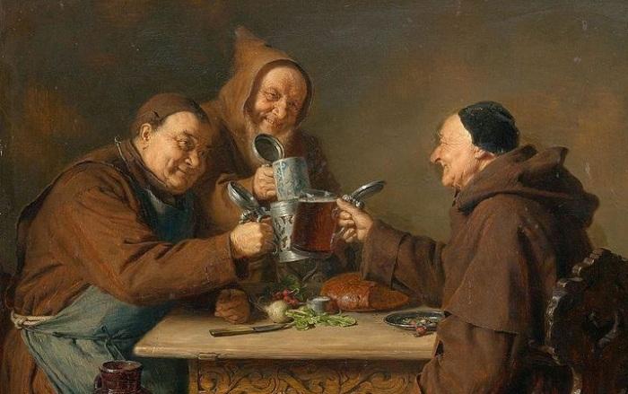Занимательные жанровые картины немецкого художника о веселой жизни баварских монахов-пивоваров.