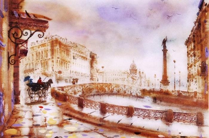 Набережная реки Мойки. Санкт-Петербург. Из цикла: Питерские пейзажи  Светланы и Сабира Гаджиевых.