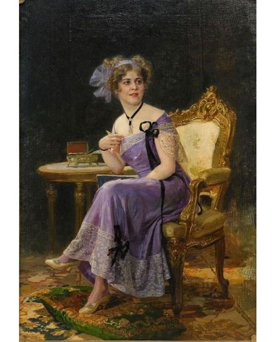 Портрет дамы в сиреневом.  Автор: Николай Бодаревский.