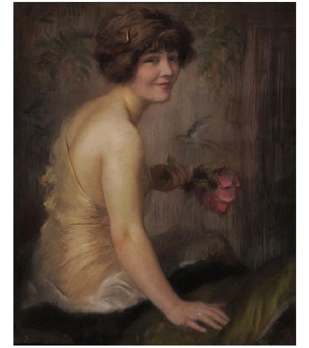 Девушка с розой. Автор: Николай Бодаревский.