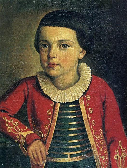 Лермонтов в детстве. 1820-1822. Неизвестный художник.