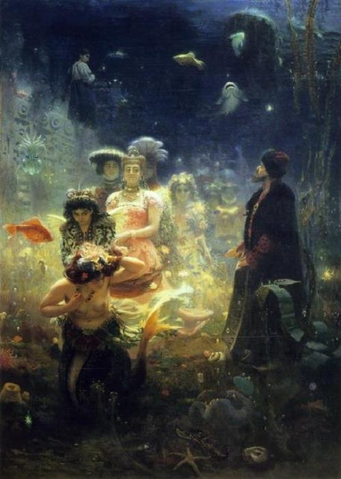 Садко в Подводном царстве. (1876 год). Автор: Илья Репин. (Картина написана во Франции).
