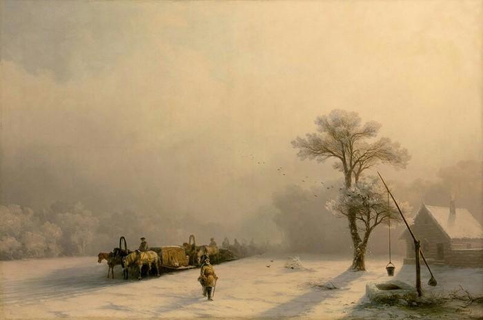 Зимний обоз в пути.<br>(1857). Автор. И.К.Айвазовский.