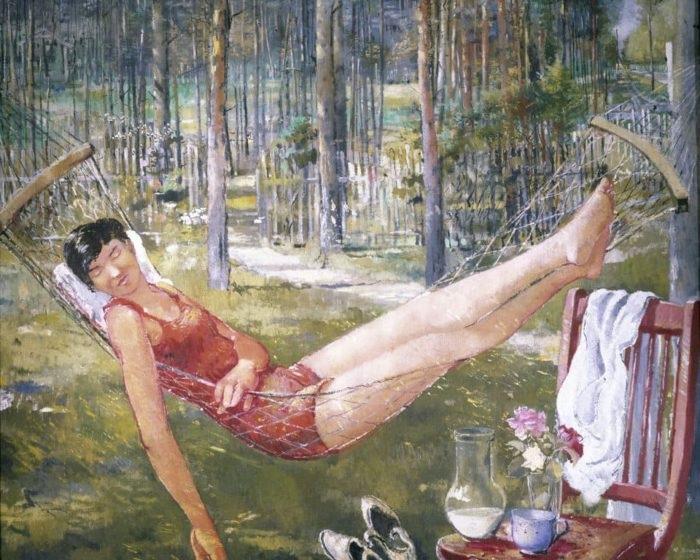 Женщина в гамаке. Автор: Юрий Пименов.
