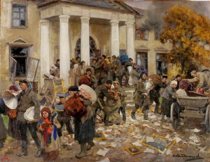 Разгром помещичьей усадьбы. (1926). Автор: Иван Владимиров.
