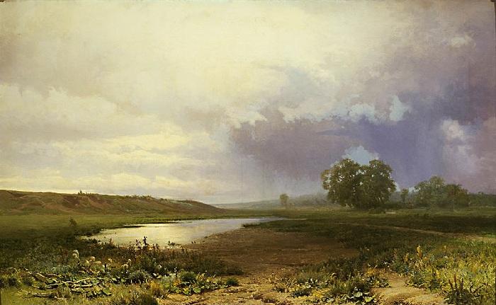 «Мокрый луг». (1872 год). Автор: Федор Васильев. /Самая знаменитая картина художника/.