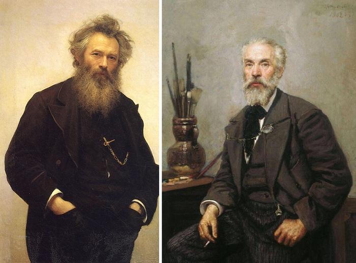 Портрет художника И. И. Шишкина. (1880 год). Автор: Иван Крамской. / Портрет художника К.А.Савицкого.