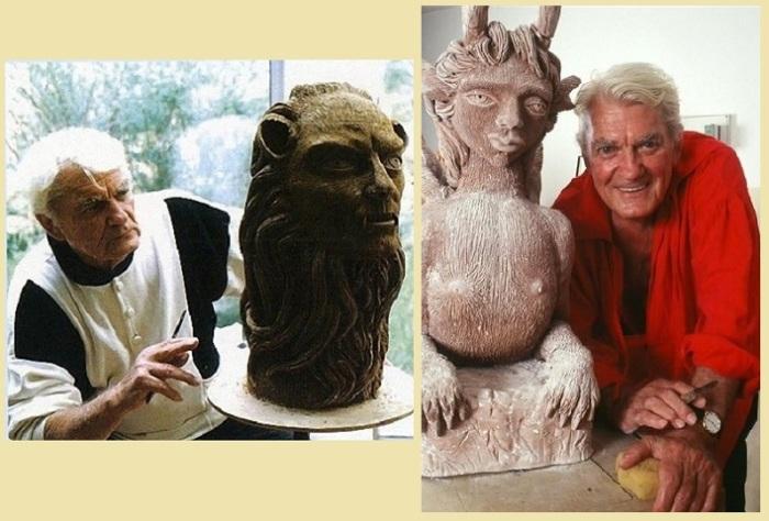 Жанн Маре за ваянием скульптуры.