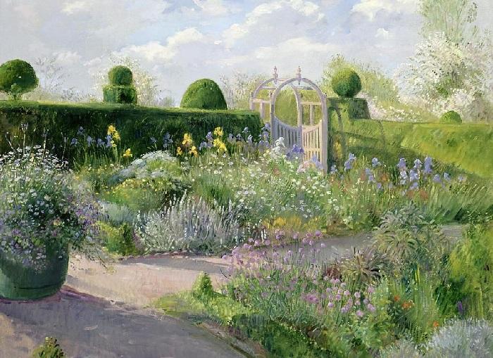 Цветущий май и ирисовая постель. (May blossom and the Iris Bed). Художник: Timothy Easton.